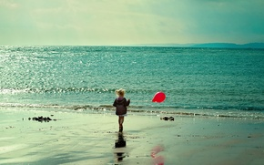 Картинка море, настроение, шарик, девочка