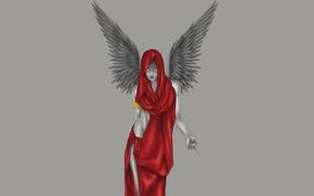 Картинка девушка, красный, крылья, минимализм, ангел