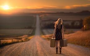 Картинка дорога, девушка, путь, чемоданы