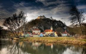 Обои гора, Бавария, дома, Германия, Kallmuenz, берег, деревья, крепость, городок, река, скалы, осень