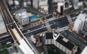 Картинка city, Tokyo, Japan, roads, houses, streets, buildings, Asia, small, miniature