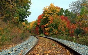 Картинка осень, пейзаж, железная дорога
