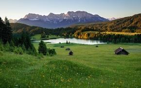 Обои луга, озеро, горы, альпы, лето, дома