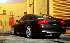 Картинка Audi, black, rear, vossen wheels