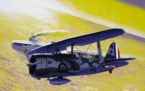 Картинка war, art, airplane, aviation, Curtiss SBC Helldiver