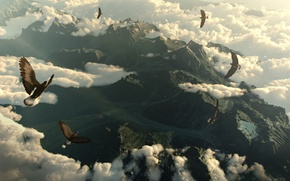 Картинка облака, горы, птицы, орлы, mountains, clouds, birds, eagles