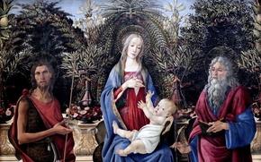 Картинка Сандро Боттичелли, великий итальянский живописец, Sandro Botticelli, темпера, Мадонна с младенцем на троне, Берлинская картинная ...