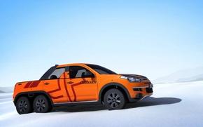 Картинка оранжевый, необычно, профиль, колёс, шесть