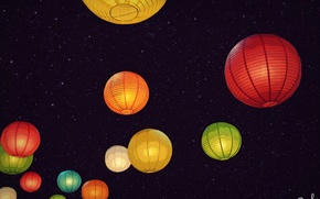 Картинка небо, звезды, ночь, фонарики