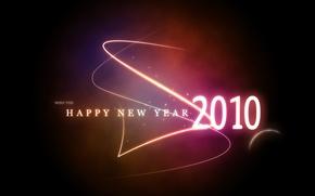 Обои 2010, Happy New Year, Glowing 2010, Новый Года
