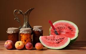 Картинка арбуз, фрукты, натюрморт, персики, варенье