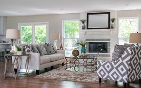 Картинка дизайн, диван, камин, гостиная, декор