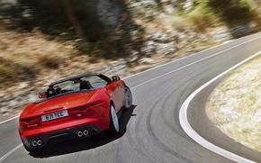 Картинка red, вид сзади, движение, красная, f-type, кабриолет, jaguar, ягуар