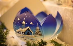 Картинка зима, синий, новый год, шар, рождество, лепесток, christmas, new year, blue, winter, ball, petal