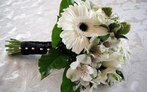 Картинка цветок, цветы, букет, герберы, красивые, свадебный, альстрёмерия, альстромерия