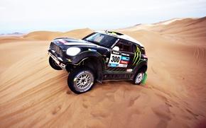 Картинка Mini Cooper, Машина, Песок, Дюна, Фары, Мини, Авто, День, Rally, Спорт, Dakar, Mini