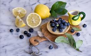 Обои ягоды, натюрморт, лимоны, голубика, пирожное, листочки, ложка