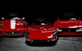 Обои triple, cars, ferrari, italy, black and white, models