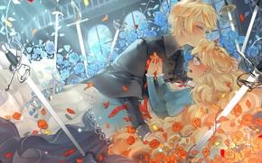 Картинка девушка, цветы, оружие, розы, меч, лепестки, слезы, арт, парень, vocaloid, kagamine rin, kagamine len, semcool, …