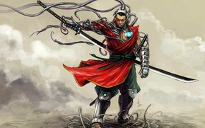 Картинка самурай, киборг, SHWANN Universe, Dj Shwann