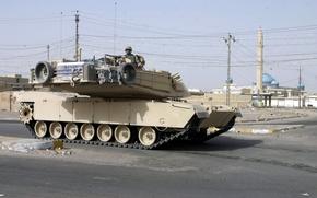 Обои abrams, usa, солдат, танк, город