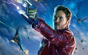 Обои Star-Lord, Guardians of the Galaxy, Chris Pratt, Planet, Situation, Space, Battleship, Peter, Guns, Pistols, Quill, ...
