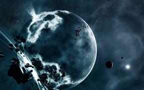 Обои планета, звезды, взрыв