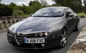 Обои фары, капот, Alfa Romeo, автомобиль, красивый, передок, Brera S
