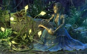 Обои кувшин, девушка из метала, растения