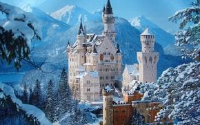 Картинка зима, снег, Замок Нойшванштайн