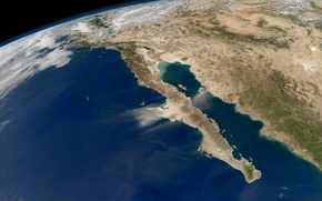 Картинка планета, Мексика, Калифорния, Тихий океан, Зкмля