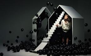 Обои шарики, дом, черный