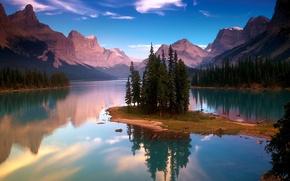 Обои 155, деревья, озеро, горы
