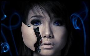 Картинка лицо, робот, голова, Андроид, черный фон, киборг