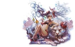 Картинка девушка, тигр, игра, аниме, арт, онлайн, Blade Soul