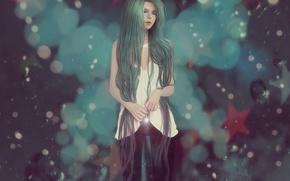 Картинка девушка, звезды, волосы, аниме, арт, очки, ripa666