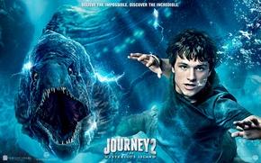 Обои пузыри, ситуация, зубы, пасть, постер, под водой, плывет, рептилия, Джош Хатчерсон, Josh Hutcherson, Journey 2: ...