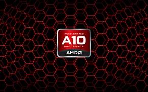 Картинка logo, Red, AMD, A10, APU