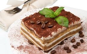 Картинка кофе, пирожное, вилка, мята, крем, десерт, зёрна, тирамису