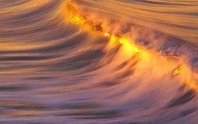 Обои гребень, вода, Волна, закат