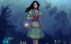 Картинка пузырьки, кровь, игра, платье, арт, Алиса, нож, под водой, Alice: Madness Returns