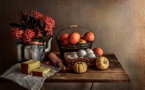 Картинка яйца, букет, апельсины, чайник, хлеб, тыквы, натюрморт