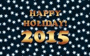 Картинка снежинки, текст, фон, обои, Новый год, holiday, Happy, 2015