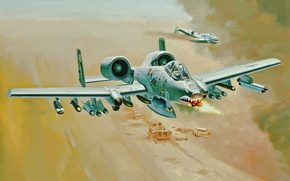 Картинка war, art, painting, aviation, jet, A-10 Thunderbolt II