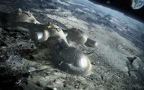 Картинка космос, луна, база, колонизация