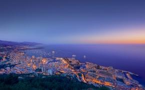 Картинка море, закат, огни, побережье, здания, корабли, Monaco
