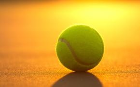 Картинка закат, спорт, мяч, теннис, корт, инвентарь