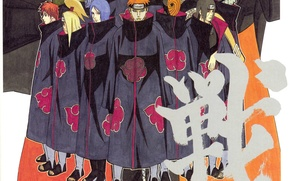 Картинка ниндзя, плащ, Naruto, отряд, Itachi, Akatsuki, Deidara, Sasori, Yahiko, Konan, Tobi, Kisame, Наруто Ураганные хроники, …