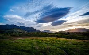 Картинка поле, пейзаж, горы, природа, queenstown, valley, new zealand