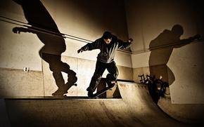 Обои тени, скейтбординг, скейтборд, экстремальный спорт, света